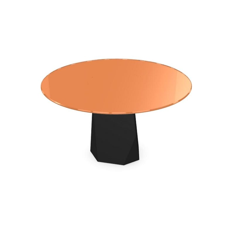 Modern Menhir, Dining Table with Round Orange Glass Top on Metal Base, Made in Italy For Sale