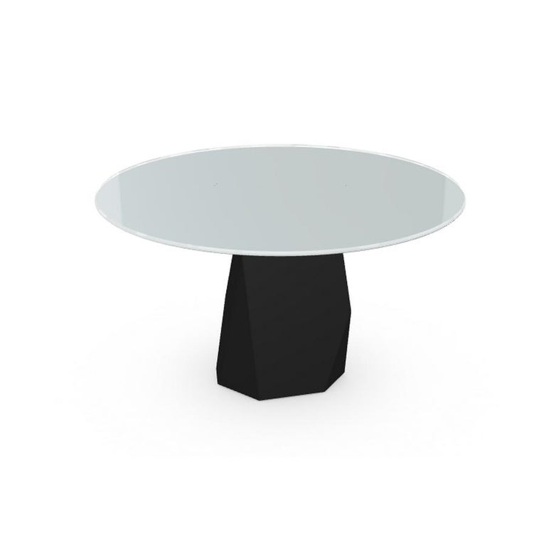 Modern Menhir, Dining Table with Round White Glass Top on Metal Base, Made in Italy For Sale
