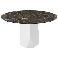 Menhir, Dining Table with Emperador Round Ceramic Top on Metal Base