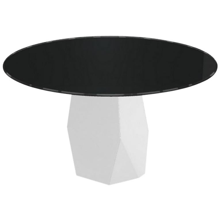 Menhir, Dining Table with Round Black Glass Top on Metal Base, Made in Italy For Sale