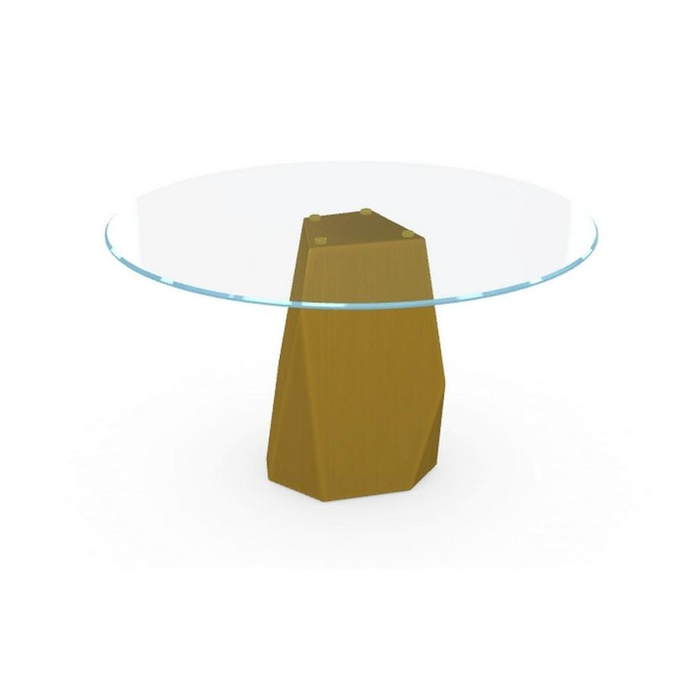 Italian Menhir, Dining Table with Round Clear Glass Top on Brass Base, Made in Italy For Sale