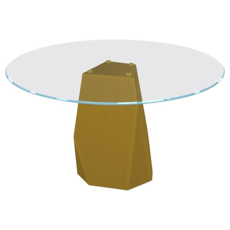 Menhir, Dining Table with Round Clear Glass Top on Brass Base, Made in Italy For Sale