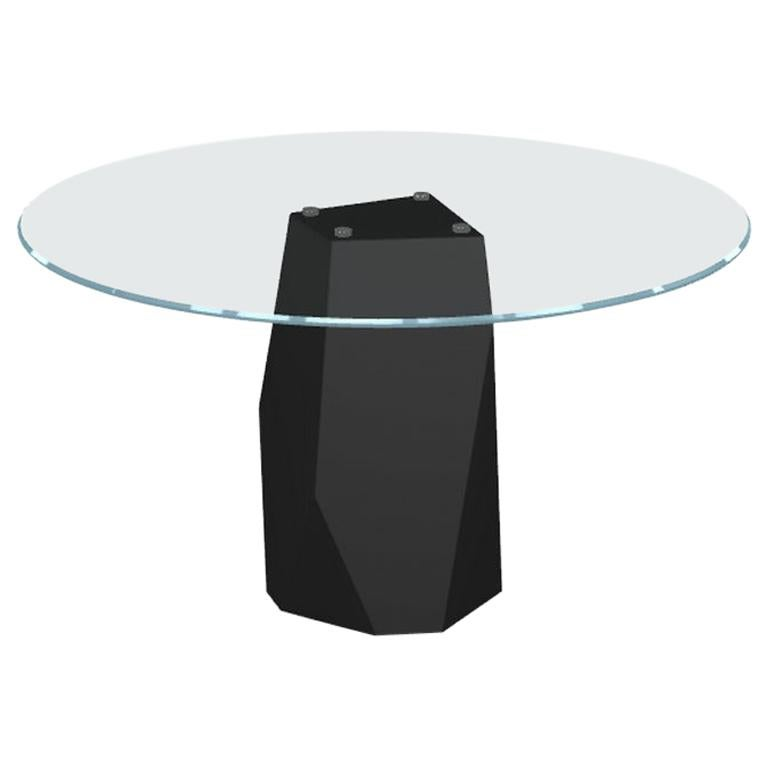 Menhir, Dining Table with Round Glass Top on Metal Base, Made in Italy