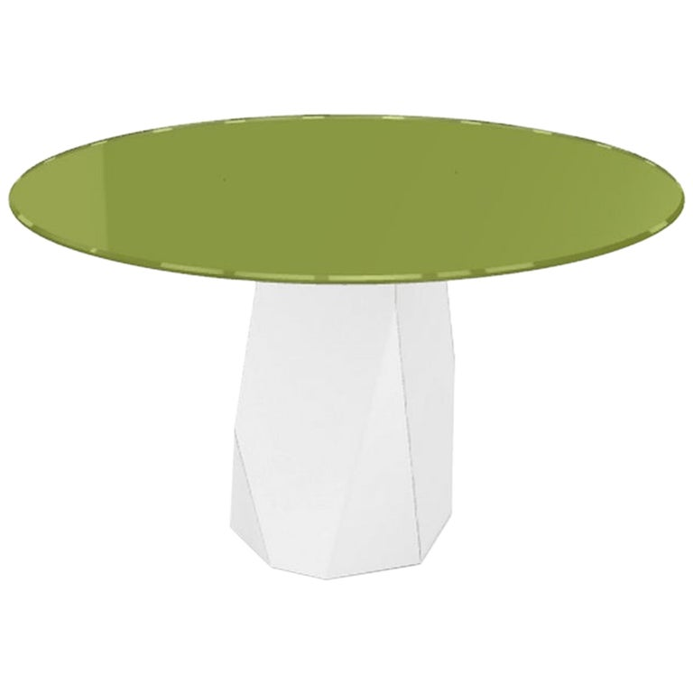 Menhir, Dining Table with Round Green Glass Top on Metal Base, Made in Italy For Sale