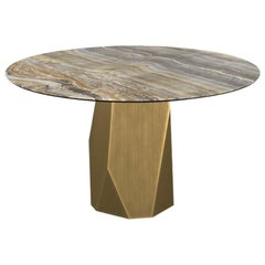 Menhir, Dining Table with Round Grey Onyx Ceramic Top on Brass Base