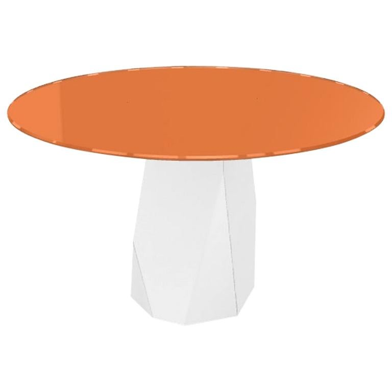 Menhir, Dining Table with Round Orange Glass Top on Metal Base, Made in Italy For Sale