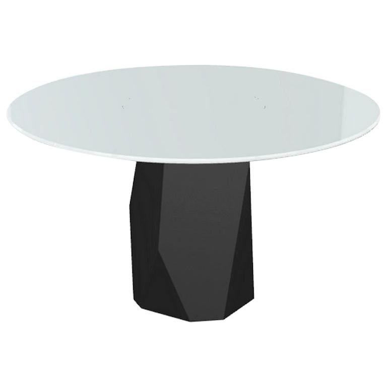 Menhir, Dining Table with Round White Glass Top on Metal Base, Made in Italy For Sale