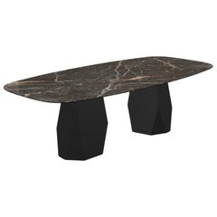 Menhir Two Bases, Dining Table with Emperador Ceramic Top on Black Metal Base