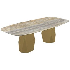 Menhir Two Bases, Dining Table with Emperador Ceramic Top on Brass Base