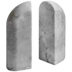 Menhir White Marble Carved Bookend