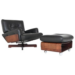 Menilio Taro Model 401 Rosewood Lounge Chair Set Cinova, Italy, 1964