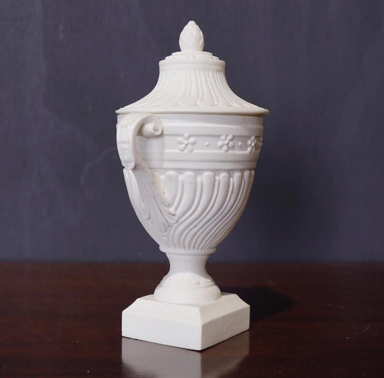 French Mennecy Unglazed Porcelain Classical Covered Urn, circa 1765 For Sale