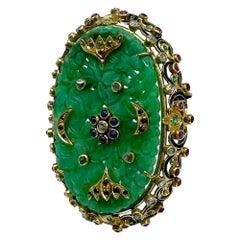 Menorah Jade & Enamel Pendant with Moons 5 Carats TW 18 Karat Gold Sapphires