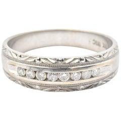 Men's 10 Karat White Gold and 0.24tw Diamond Wedding Band Ring