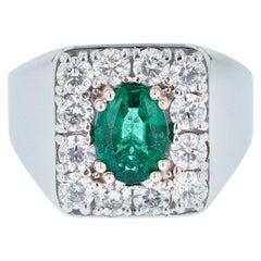 Men's 14 Karat Gold 1.44 Carat Oval Green Emerald Diamond Ring