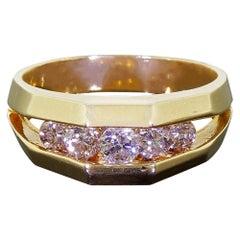 Men's 14 Karat Gold Ring Five Diamonds 0.50 Carat Unique 3D Channel Setting
