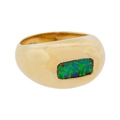 Men's Heavy 14 Karat Gold Ring With Lightning Ridge Black Fire Opal Size 8.75