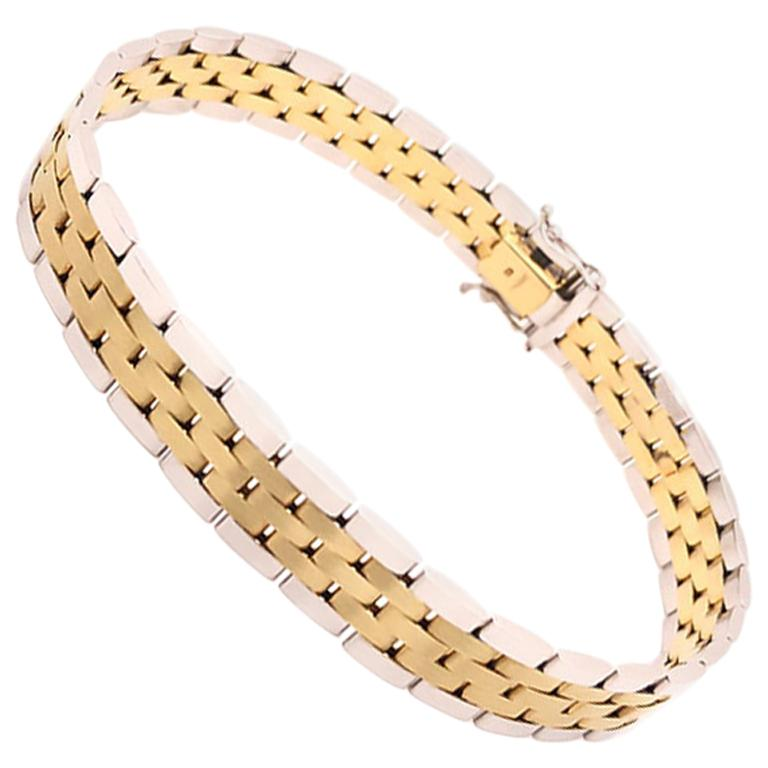 Men's 14 Karat Gold Two-Tone Jubilee Bracelet For Sale