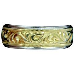 Men's 14 Karat Millan Gilt Etched Deco Comfort Band Ring