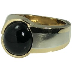 Men's 14 Karat White and Yellow Gold Onyx Contemporary Ring