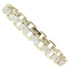 Men's 14 Karat White and Yellow Gold Station Diamond Bracelet