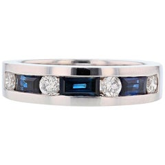 Men's 14 Karat White Gold Diamond and Sapphire Band