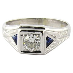Men's 14 Karat White Gold Diamond and Sapphire Ring