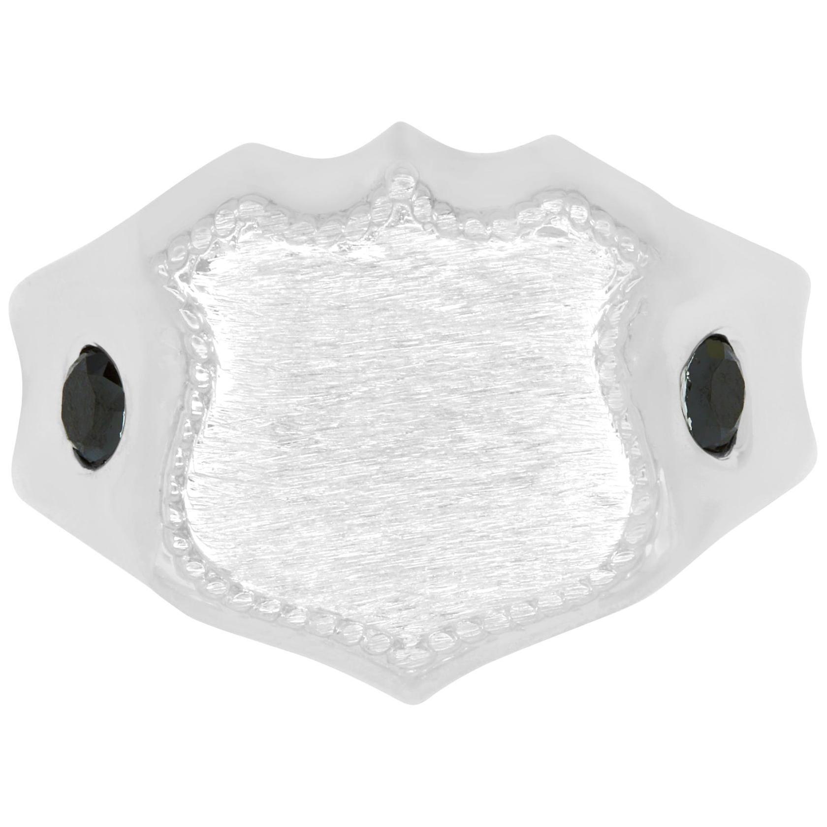 Men's 14 Karat White Gold Shield Ring