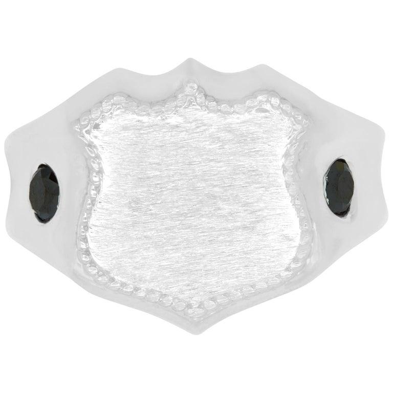 Men's 14 Karat White Gold Shield Ring For Sale