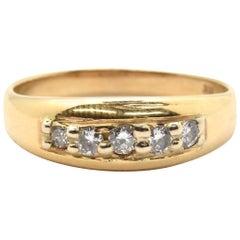 Men's 14 Karat Yellow Gold and 5 Diamond Wedding Band