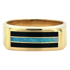 Men's 14 Karat Yellow Gold Opal and Onyx Inlay Men's Squared Band Ring