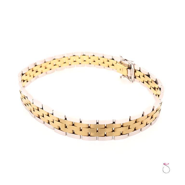 Modern Men's 14 Karat Gold Two-Tone Jubilee Bracelet For Sale
