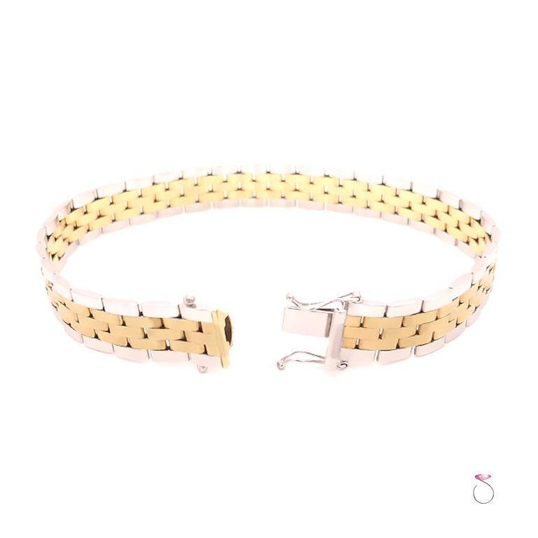 Men's 14 Karat Gold Two-Tone Jubilee Bracelet In New Condition For Sale In Honolulu, HI