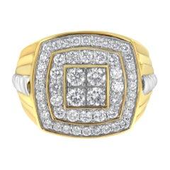 Men's 14K Yellow Gold 2.0 Cttw Diamond Double Halo Cushion-Shaped Ring
