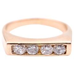 Men's 14 Karat Yellow Gold and 0.64 Carat Round Diamond Ring