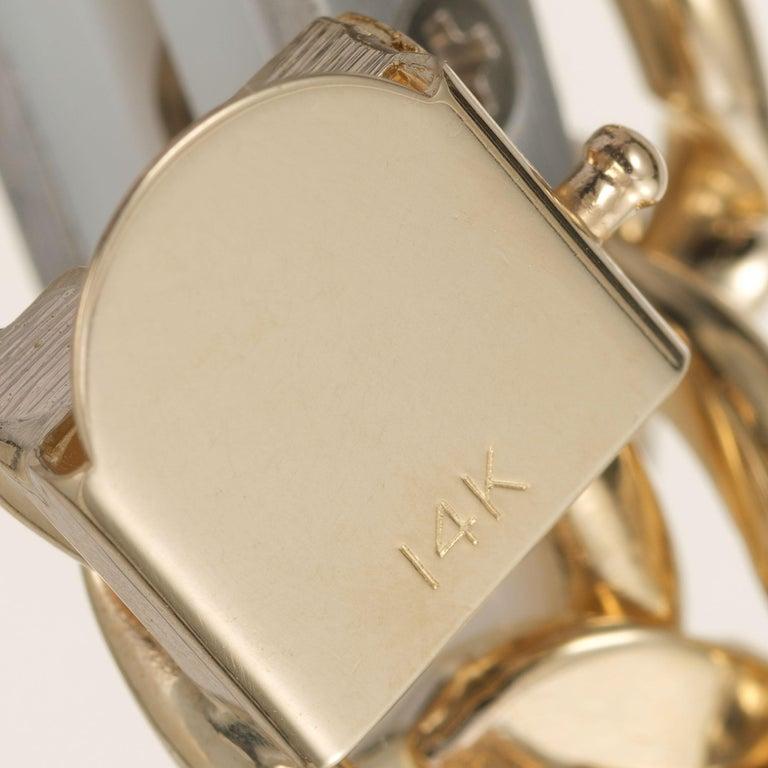 Mens 14k Yellow Gold Oval Link Bracelet For Sale 1