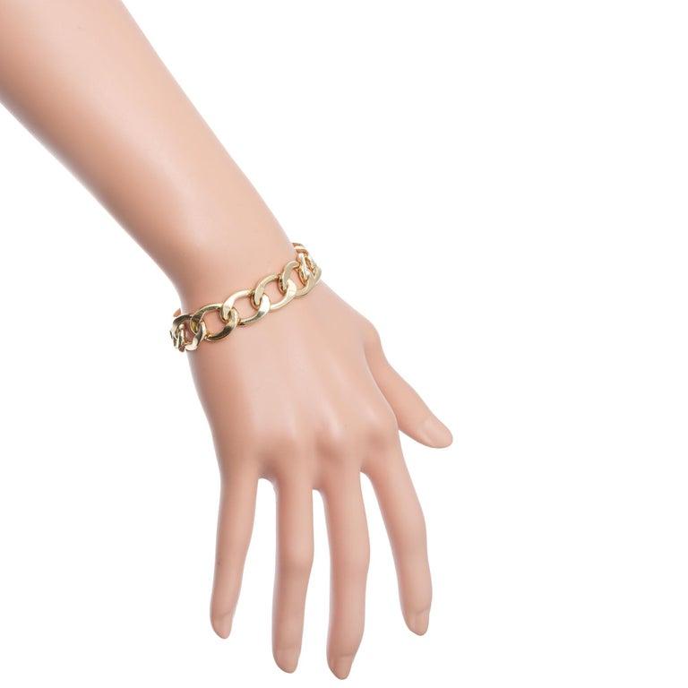 Mens 14k Yellow Gold Oval Link Bracelet For Sale 2