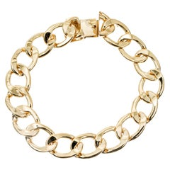 Mens 14k Yellow Gold Oval Link Bracelet
