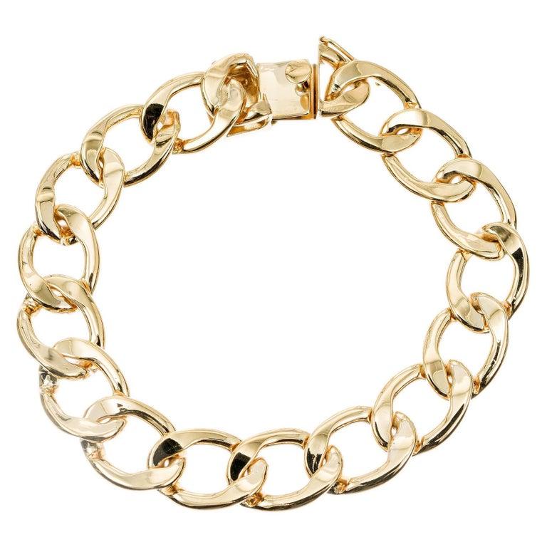 Mens 14k Yellow Gold Oval Link Bracelet For Sale