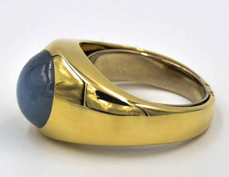 Modern Men's 14 Karat Yellow Gold Star Sapphire Dome Ring