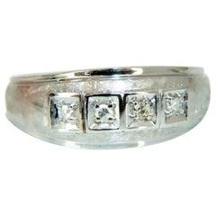 Men's .15 Carat Natural Round Cut Diamonds Wide Band Bead 14 Karat