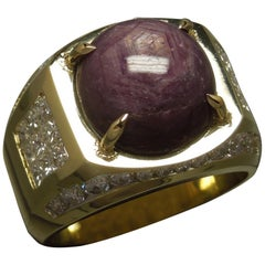 Men's 17.04 Carat Star Ruby and Diamond 18 Karat Gold Ring