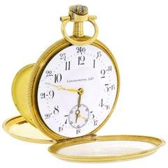 Men's 18 Karat Gold Lip Chronometre Dress Pocket Watch France Art Deco Case