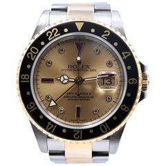 Men's 18 Karat Two-Tone Rolex GMT Master II Serti Dial Watch Ref. 16713