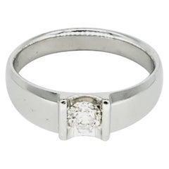 Men's 18 Karat White Gold 0.45 Carat Diamond Center Ring