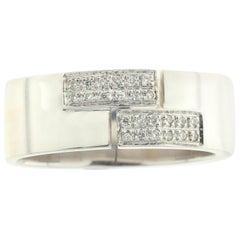 Men's 18 Karat White Ring Pavê-Set with White Diamonds