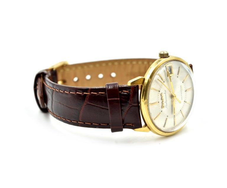 Modern Men's 18 Karat Yellow Gold Bulova Automatic Watch For Sale
