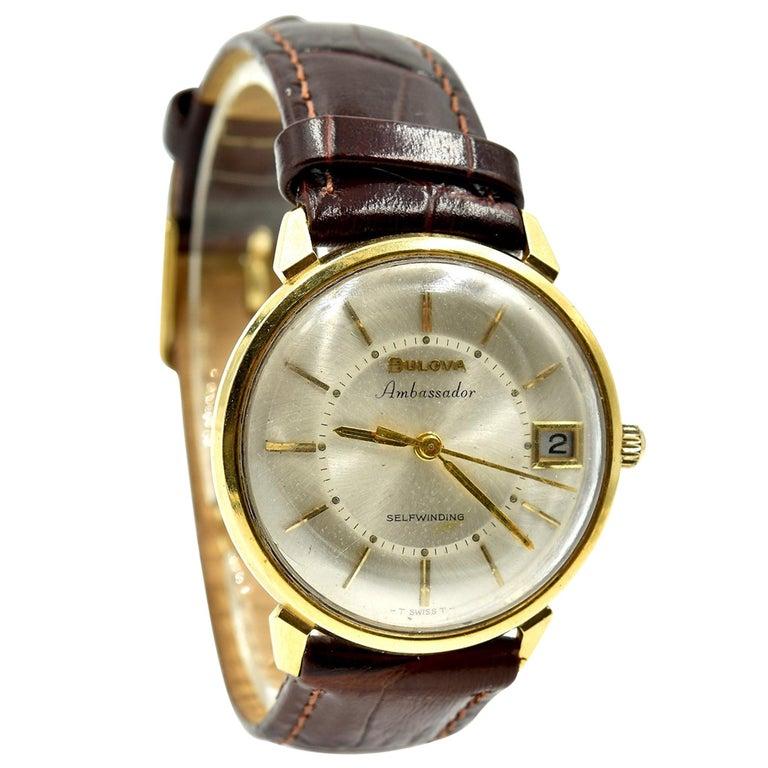 Men's 18 Karat Yellow Gold Bulova Automatic Watch For Sale