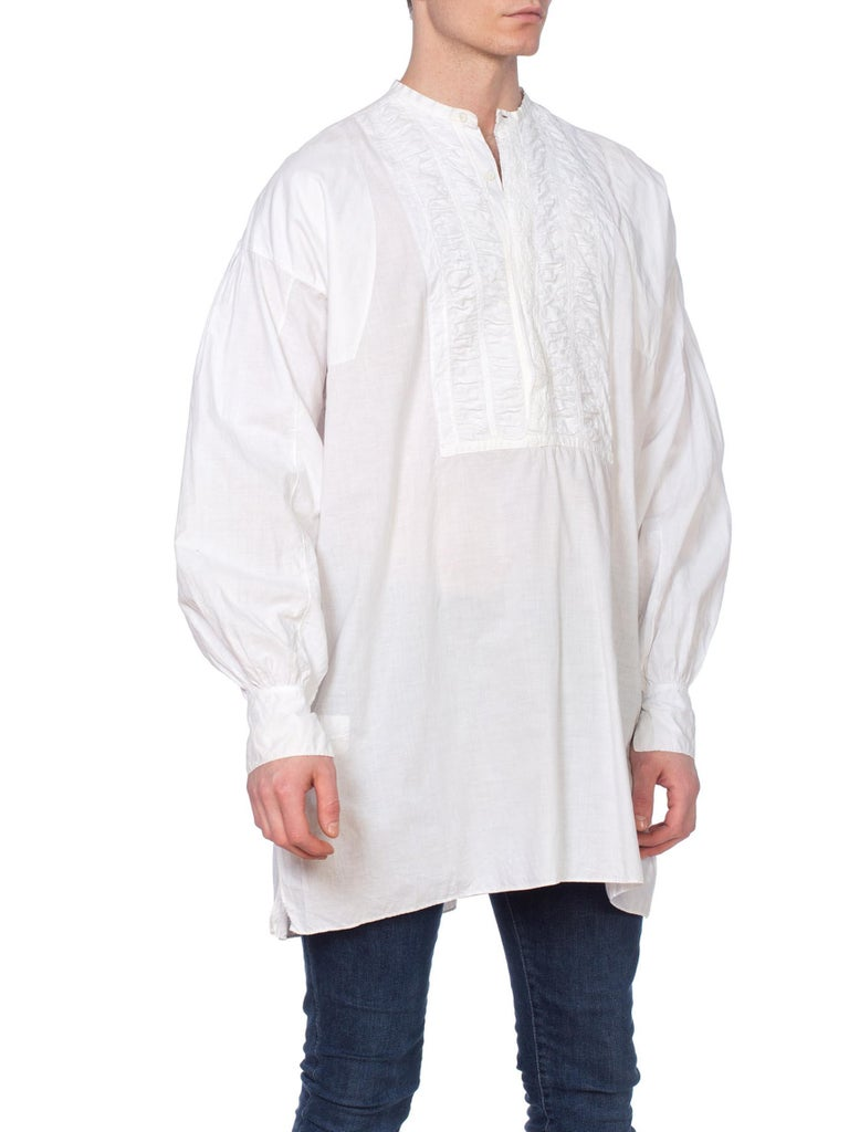 Mens 1800's Victorian Hand Embroidered Organic Cotton Handmade Shirt, most likely from the era 1810-1850.