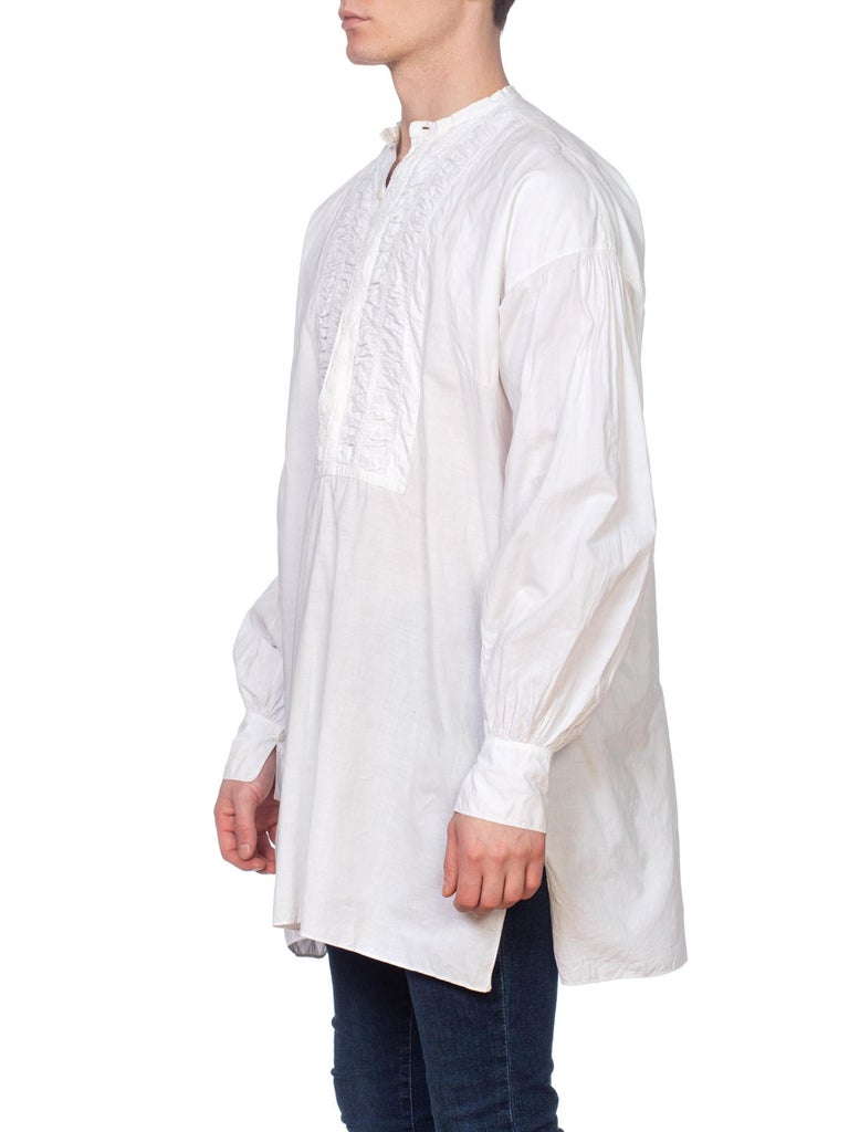 Men's Mens 1800's Victorian Hand Embroidered Organic Cotton Handmade Shirt For Sale
